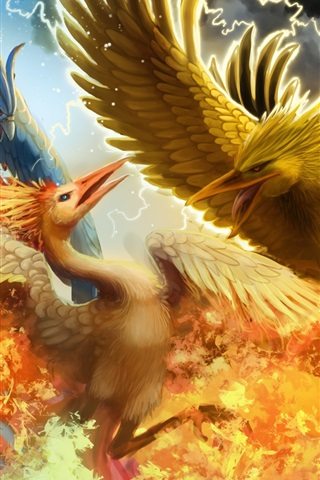 iPhone Wallpaper Creative design, three phoenix war in the sky