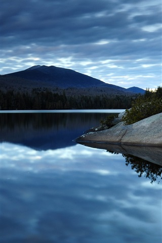 iPhone Wallpaper Dark blue sky clouds, lake water, reflection, forest, mountains, morning scenery