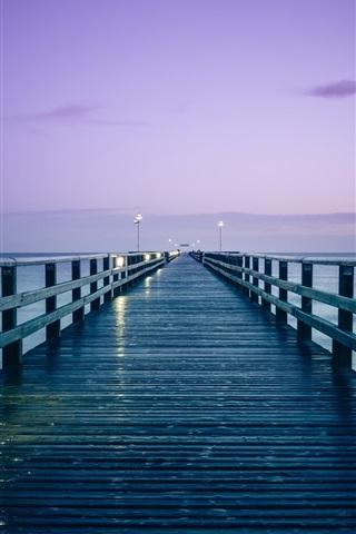 iPhone Wallpaper Germany, Baltic sea, pier, sunrise, morning, lights