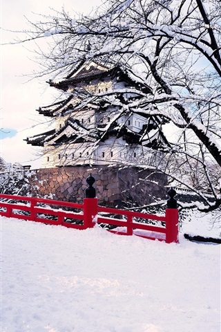 iPhone Wallpaper Japan, Aomori Prefecture, Hirosaki, winter snow, bridge, castel, ice trees