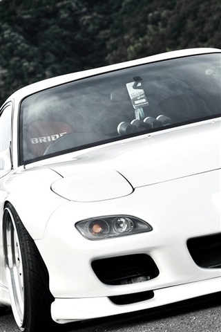 Mazda Rx7 White Car Japan 640x960 Iphone 4 4s Wallpaper