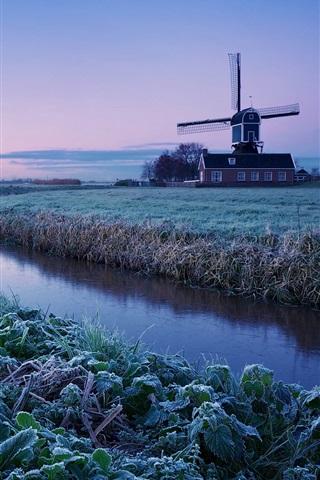 iPhone Wallpaper Netherlands winter morning, sunrise, farm, windmill, frost, river, blue sky
