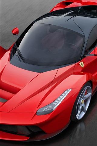iPhone Wallpaper Red Ferrari LaFerrari 2013 luxury car