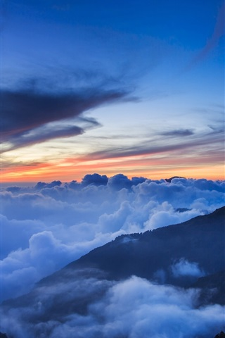 iPhone Wallpaper Taiwan, National Park, mountains, trees, mist, clouds, sky, evening, sunset