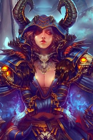 iPhone Wallpaper World of Warcraft, art painting, girl, monster