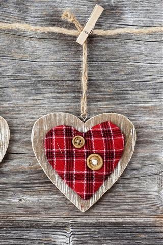 iPhone Papéis de Parede Arte, corações, madeira, tecido e botões, prendedores de roupa e corda