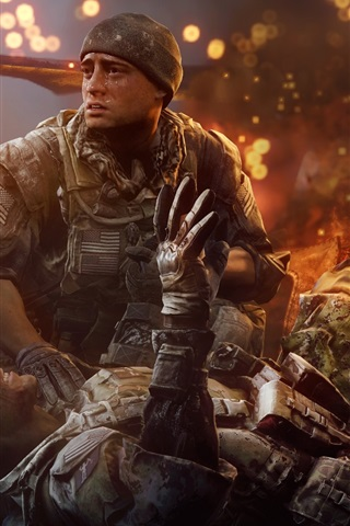 iPhone Wallpaper Battlefield 4, Soldiers injured