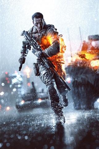 iPhone Papéis de Parede Battlefield 4, o dia chuvoso da noite da cidade