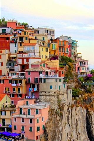 iPhone Wallpaper Monterosso, Italy city, houses, sea, stones, cliff