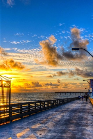 Ocean Beach Dock Beautiful Sunset 640x1136 Iphone 5 5s 5c Se Wallpaper Background Picture Image