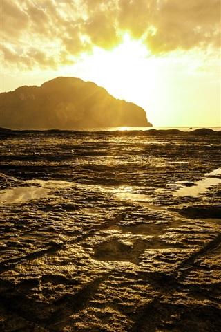 iPhone Papéis de Parede Phi Phi Island Sunset, mar de Andaman, na Tailândia