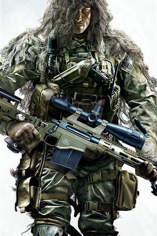 iPhone Wallpaper Sniper: Ghost Warrior 2, Disguised soldier