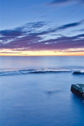 iPhone Wallpaper Spain, Valencia, stones, moss, sea, coast, calm evening, sunset, blue sky