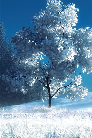 iPhone Wallpaper Art photography, winter, snow, trees, bench