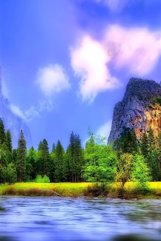 iPhone Wallpaper Beautiful landscape, river, forest, waterfalls, mountains