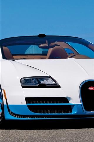 iPhone Hintergrundbilder Bugatti Grand Sport Vitesse weißes Auto