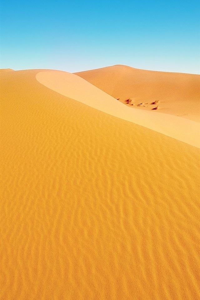 Wallpaper Desert Landscape Dunes Yellow Sand Blue Sky