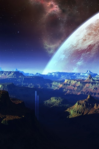 iPhone Wallpaper Fantastic scenery, mountains, space, planet