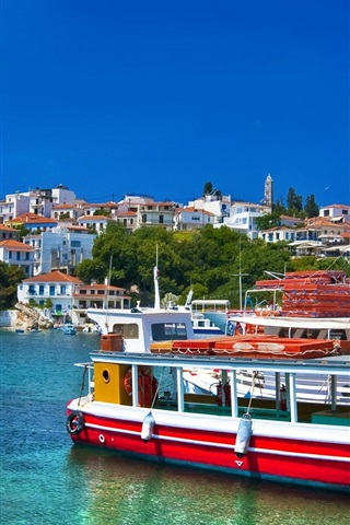 iPhone Wallpaper Greece, sea, boats, houses, blue sky, clouds