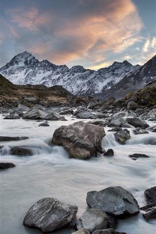 iPhone Wallpaper Hooker River, Mount Cook National Park, New Zealand, mountains, rocks