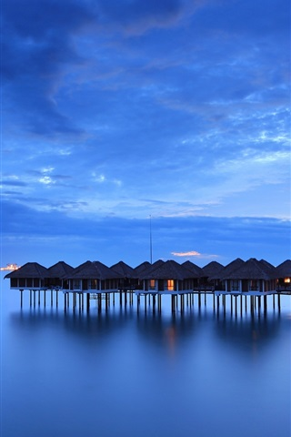 iPhone Wallpaper Malaysia, calm sea, coast, houses, night, sky, blue