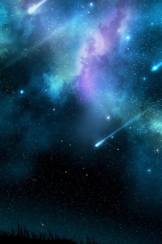 iPhone Wallpaper Meteor shower at night, blue sky, trees silhouette
