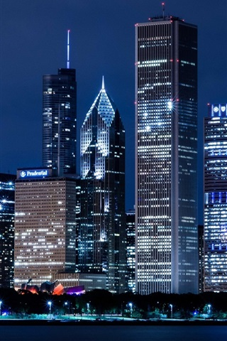iPhone Wallpaper United States, Illinois, Chicago, skyscrapers, city night lights