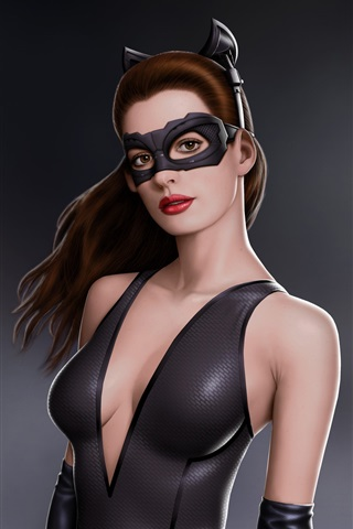 iPhone Wallpaper Anne Hathaway in Batman movie as catwoman