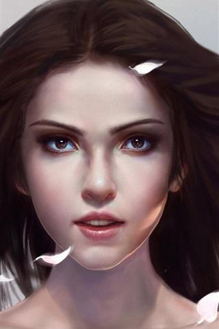 iPhone Wallpaper Art fantasy girl, petals flying