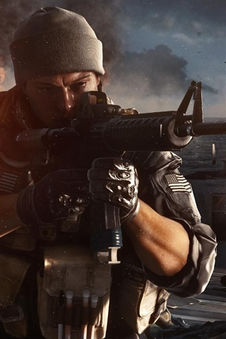iPhone Wallpaper Battlefield 4, firefight at the warships