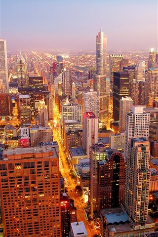 iPhone Wallpaper Chicago city at dawn