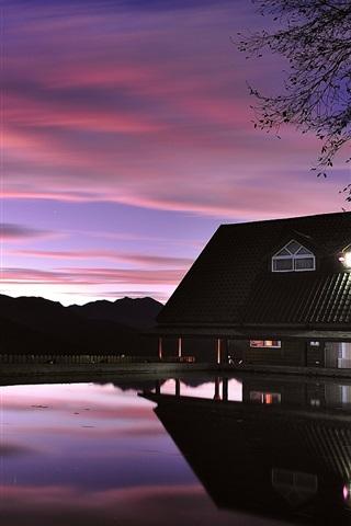 iPhone Wallpaper Evening dusk, house, lake, lights, reflection