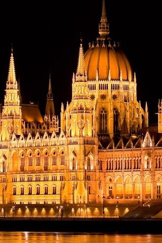 iPhone Wallpaper Hungary, Budapest, parliament, night, lights, water, Danube river