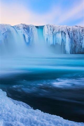 iPhone Wallpaper Iceland, Godafoss, beautiful waterfall, ice, snow, winter, blue