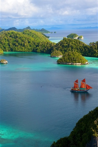 iPhone Wallpaper Indonesia beautiful islands scenery, water, ship, blue sky, clouds, sea