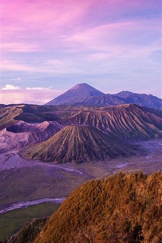 iPhone Wallpaper Indonesian landscape, Java Island, Volcano, Dusk
