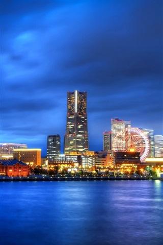 iPhone Papéis de Parede Japão, Yokohama, Kanagawa, cidade à noite, roda gigante, arranha-céus, luzes