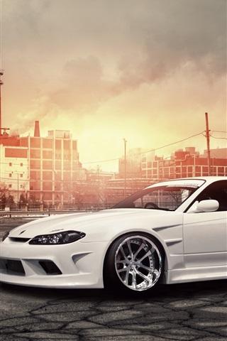 iPhone Wallpaper Nissan Silvia S15 white car