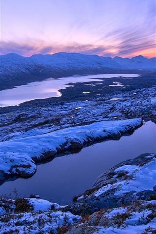 Fonds Décran Norvège Paysage Dhiver Montagnes Coucher Du