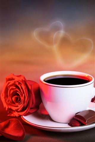 iPhone Wallpaper Red rose, cup of coffee, love hearts, warm style