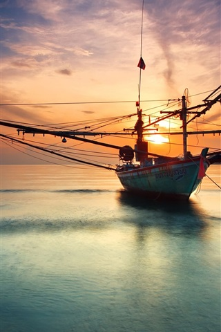 iPhone Wallpaper Ship at the calm sea, sunset, water reflection
