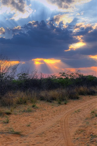 iPhone Wallpaper South Africa, Namibia, sunset landscape, clouds, desert