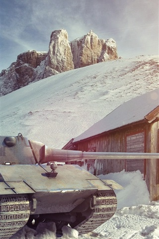 iPhone Wallpaper World of Tanks, winter, snow, house