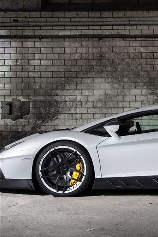 iPhone Papéis de Parede 2013 Lamborghini Aventador LP700-4 branco supercarro