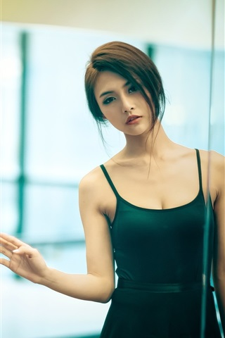 Asian Girl Short Hair Green Skirt 750x1334 Iphone 8 7 6 6s Wallpaper Background Picture Image