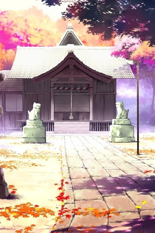 iPhone Wallpaper Beautiful anime scenery, houses, autumn