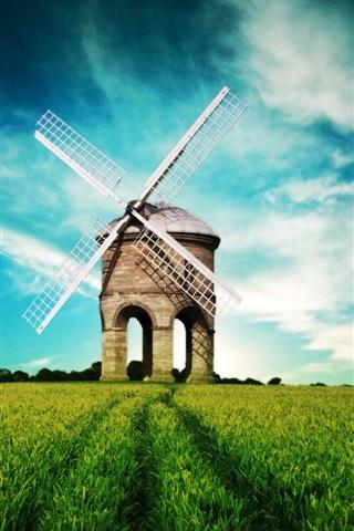 iPhone Wallpaper Fantasy landscape, windmill, fields, blue sky