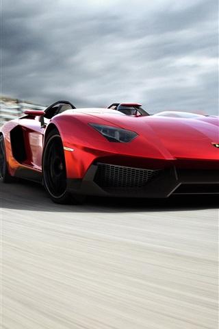 ランボルギーニアヴェンタドールの赤いスーパーカーは 走行速度 750x1334 Iphone 8 7 6 6s 壁紙 背景 画像