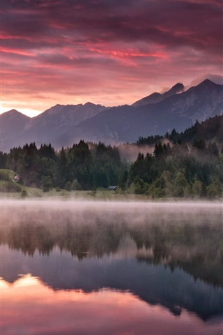 iPhone Wallpaper Nature landscape, mountains, forest, lake, morning dawn, fog