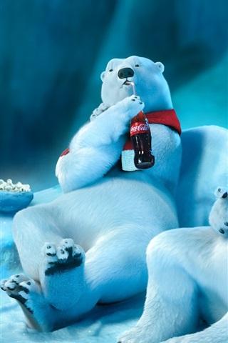 iPhone Wallpaper Polar bear drinking Coca-Cola